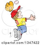 Poster, Art Print Of Cartoon Dirty Blond Caucasian Boy Jumping To Catch A Baseball