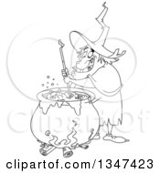 Cartoon Black And White Warty Fat Witch Stirring Brew In A Cauldron