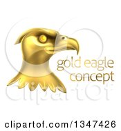 Clipart Of A Gold Bald Eagle Head With Sample Text Royalty Free Vector Illustration
