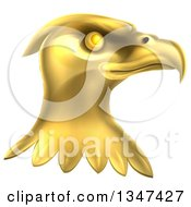 Clipart Of A Gold Bald Eagle Head Royalty Free Vector Illustration