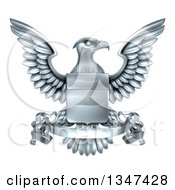 Clipart Of A Silver Heraldic Coat Of Arms Eagle With A Shield And Scroll Banner Royalty Free Vector Illustration