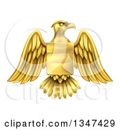 Clipart Of A Gold Heraldic Coat Of Arms Eagle With A Shield Royalty Free Vector Illustration by AtStockIllustration