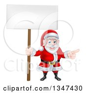 Clipart Of A Cartoon Christmas Santa Claus Pointing And Holding A Blank Sign 2 Royalty Free Vector Illustration