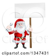 Clipart Of A Happy Christmas Santa Holding A Spanner Wrench And Blank Sign 5 Royalty Free Vector Illustration