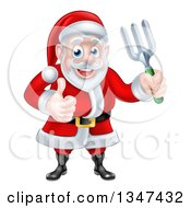 Clipart Of A Cartoon Christmas Santa Holding A Garden Fork And Giving A Thumb Up 3 Royalty Free Vector Illustration