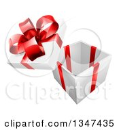 Clipart Of A 3d Open Gift Box With A Red Bow Royalty Free Vector Illustration