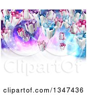 Background Of Birthday Or Christmas Gift Boxes Over A Purple And Blue Background With White Text Space