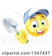 Clipart Of A Yellow Smiley Emoji Emoticon Gardener Wearing A Hat And Holding A Trowel Spade Royalty Free Vector Illustration by AtStockIllustration