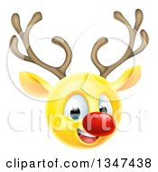 Clipart Of A Yellow Smiley Emoji Emoticon Christmas Reindeer Rudolph Royalty Free Vector Illustration by AtStockIllustration