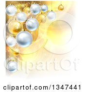 Clipart Of A Christmas Background With 3d Bauble Ornaments Over Golden Magic Lights And Flares Royalty Free Vector Illustration