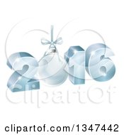 Clipart Of A 3d Suspended Blue 2016 For The New Year With A Bauble Royalty Free Vector Illustration by AtStockIllustration