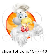 Poster, Art Print Of Happy White Chef Chicken Giving A Thumb Up And Emerging From A Circle Of Sun Rays 2