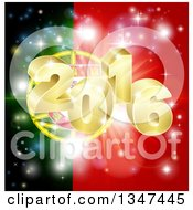Clipart Of A 3d Gold 2016 And Fireworks Over A Portugal Flag Royalty Free Vector Illustration