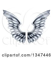 Clipart Of A Pair Of 3d Metal Silver Wings Royalty Free Vector Illustration