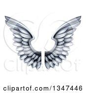 Pair Of 3d Metal Silver Wings
