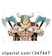 Clipart Of A Cartoon Tough Muscular Blond Male Viking Warrior Wearing A Cape And Holding Axes Royalty Free Vector Illustration by AtStockIllustration
