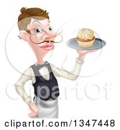 Clipart Of A Cartoon Caucasian Male Waiter With A Curling Mustache Holding A Cupcake On A Tray Royalty Free Vector Illustration by AtStockIllustration