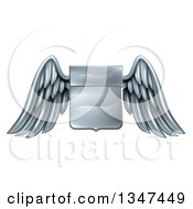 Clipart Of A Shiny Winged Metal Heraldic Coat Of Arms Shield Royalty Free Vector Illustration