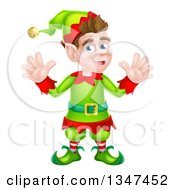 Clipart Of A Cartoon Welcoming Brunette White Male Christmas Elf Waving With Both Hands Royalty Free Vector Illustration