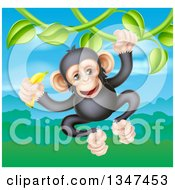 Clipart Of A Happy Chimpanzee Monkey Holding A Banana And Swinging From A Jungle Vine Over A Valley Royalty Free Vector Illustration by AtStockIllustration