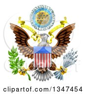 Clipart Of The Great Seal Of The United States Bald Eagle With An American Flag Shield Holding An Olive Branch And Arrows With E Pluribus Unum Scroll And Stars Royalty Free Vector Illustration by AtStockIllustration