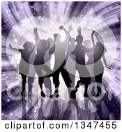 Clipart Of A Silhouetted Group Of Dancers Over A Purple Light Burst With Flares Royalty Free Vector Illustration