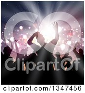 Clipart Of A Silhouetted Group Of Dancers Over A Light Burst With Flares Royalty Free Vector Illustration