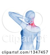 Clipart Of A 3d Blue Anatomical Woman With Glowing Neck Pain And Visible Skeleton Over White Royalty Free Illustration