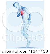 Clipart Of A 3d Blue Anatomical Man Clutching His Painful Chest Royalty Free Illustration