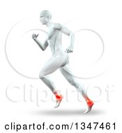 Clipart Of A 3d Anatomical Man Running With Glowing Ankle Joints On White Royalty Free Illustration