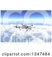 Clipart Of A 3d Metal Quadcopter Drone Flying Over The Clouds Royalty Free Illustration