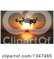 Clipart Of A 3d Metal Quadcopter Drone Flying Over An Ocean At Sunset Royalty Free Illustration