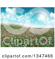 Clipart Of A 3d Hill With Grass And Wildflowers Against A Sky With Sunshine And Clouds Royalty Free Illustration