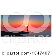 Clipart Of A 3d Silhouetted Woman Stretching On A Beach At Sunset Royalty Free Illustration by KJ Pargeter