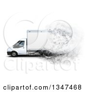Clipart Of A 3d Box Van From The Side With Speed Effect On White Royalty Free Illustration