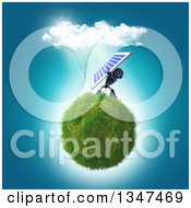 Clipart Of A 3d Blue Robot Holding Up A Solar Panel On A Grassy Globe Royalty Free Illustration