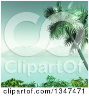 Clipart Of A 3d Tropical Island And Bay Framed With A Palm Tree And Shrubs In Vintage Tones Royalty Free Illustration