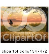 3d Wood Table With A Blurred Sailboat At Sunset On A Lake Or River