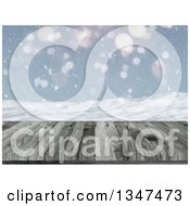 Clipart Of A 3d Close Up Of A Wooden Table Or Deck With A Blurred View Of Snow Royalty Free Illustration by KJ Pargeter