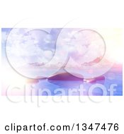 Clipart Of A 3d Bay With Smooth Rocks Against Mountains With Flares And Retro Effect Royalty Free Illustration