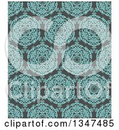 Clipart Of A Seamless Background Of A Turquoise Blue Circuolar Pattern Over Gray Royalty Free Vector Illustration