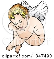 Clipart Of A Cartoon Blond White Cherub Resting His Head On His Knees Royalty Free Vector Illustration by dero