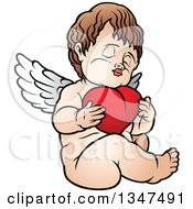 Clipart Of A Cartoon Brunette White Cherub Sitting And Hugging A Heart Royalty Free Vector Illustration by dero