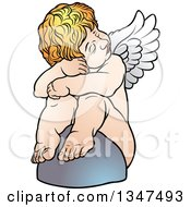 Clipart Of A Cartoon Blond White Cherub Resting Against A Rock Royalty Free Vector Illustration by dero