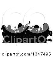 Crowd Of Black Silhouetted Young Party People Dancing With Drinks Under Text Space