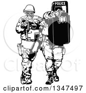 Clipart Of A Black And White Special Police Force Team Royalty Free Vector Illustration