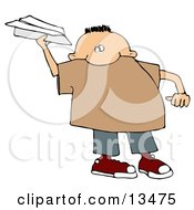 Mischievous Little Boy Throwing A Paper Airplane Clipart Illustration by djart