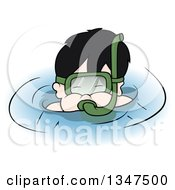 Clipart Of A Cartoon Boy Snorkeling Royalty Free Vector Illustration by dero