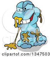 Clipart Of A Cartoon Blue Evil Monster Sitting With Slime Royalty Free Vector Illustration by dero