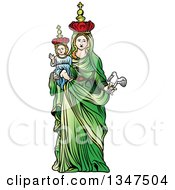 Virgin Mary In A Green Dress Holding Baby Jesus